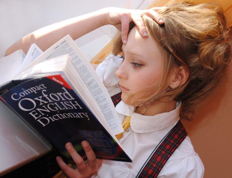 Girl English Dictionary Read  - libellule789 / Pixabay